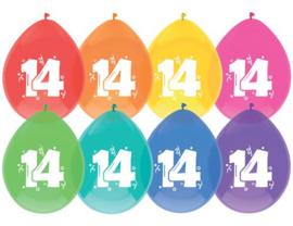 """Ballonnen """"14 jaar""""(8 stuks)"""