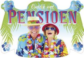Deurschild ''Eindelijk met Pensioen''
