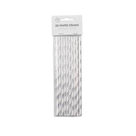 Papieren Rietjes (Zilver Metallic, 20 stuks)