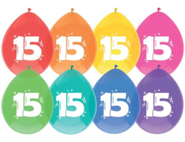 """Ballonnen """"15 jaar""""(8 stuks)"""