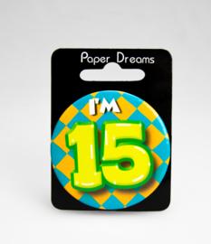 Button ''15 jaar'' (Klein)
