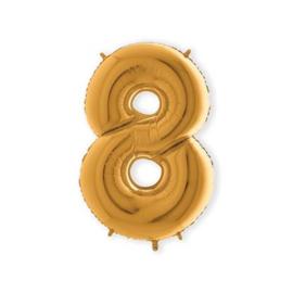 Folieballon ''Cijfer 8 goud'' (100cm)