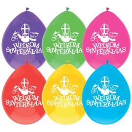 Ballonnen ''Welkom Sinterklaas'' (30cm, 6 stuks)