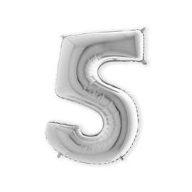 Folieballon ''Cijfer 5 zilver'' (100cm)
