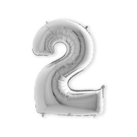 Folieballon ''Cijfer 2 zilver'' (100cm)