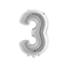 Folieballon ''Cijfer 3 zilver'' (100cm)