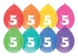 """Ballonnen """"5 jaar""""(8 stuks)"""