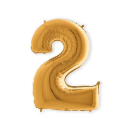 Folieballon ''Cijfer 2 goud'' (100cm)