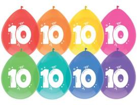 """Ballonnen """"10 jaar""""(8 stuks)"""