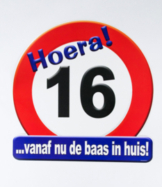Verkeersbord ''16 jaar''