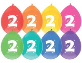 """Ballonnen """"2 jaar"""" (8 stuks)"""