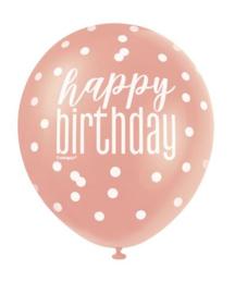 Ballonnen ''Happy Birthday'' (6 stuks)