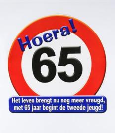 Verkeersbord ''65 jaar''