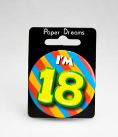 Button ''18 jaar'' (Klein)