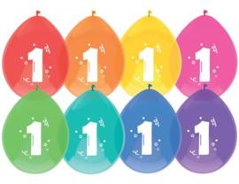 """Ballonnen """"1 jaar"""" (8 stuks)"""
