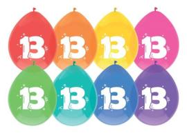 """Ballonnen """"13 jaar""""(8 stuks)"""