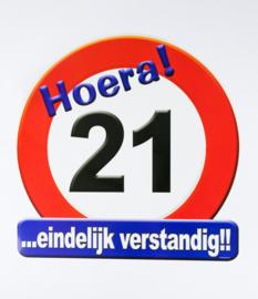 Verkeersbord ''21 jaar''