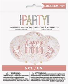 Ballonnen ''Happy Birthday, Confettie'' (6 stuks)