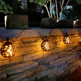 Vlameffect - 8 Hanglampjes - Solar Lichtsnoer
