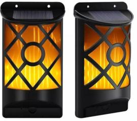 Solar Wandlamp Tiki - Vlameffect - Set van 2