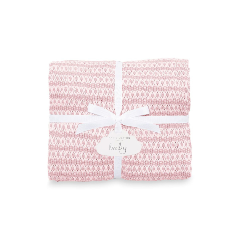 Cotton Knitted Baby Blanket - Pink