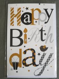Felicitatiekaart Happy birthday goud-zwart-zilver