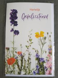 Felicitatiekaart Hartelijk gefeliciteerd bloemen