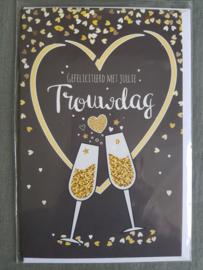 Felicitatiekaart Gefeliciteerd met jullie trouwdag champagneglazen
