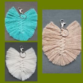 Sleutel/tassenhanger kleine veer diverse kleuren