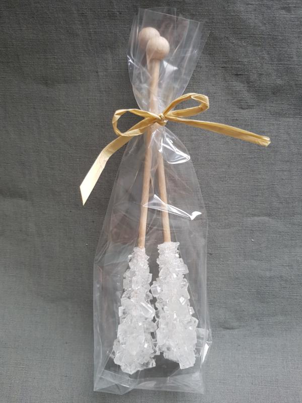 2 stokjes witte kandij - los te bestellen of als aanvulling van een high tea box