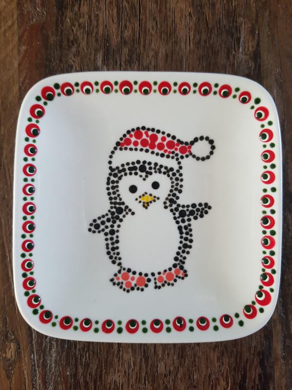 Gestipte theetip pinguin Kerst