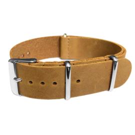 Light Brown NATO Vintage Leather Strap 22 mm - Polished