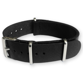 Black NATO Pull-Up Leather Strap 20 mm - Polished