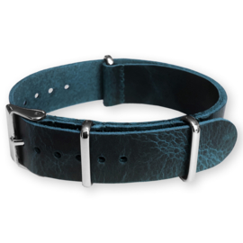 Blue NATO Pull-Up Leather Strap 20 mm - Polished