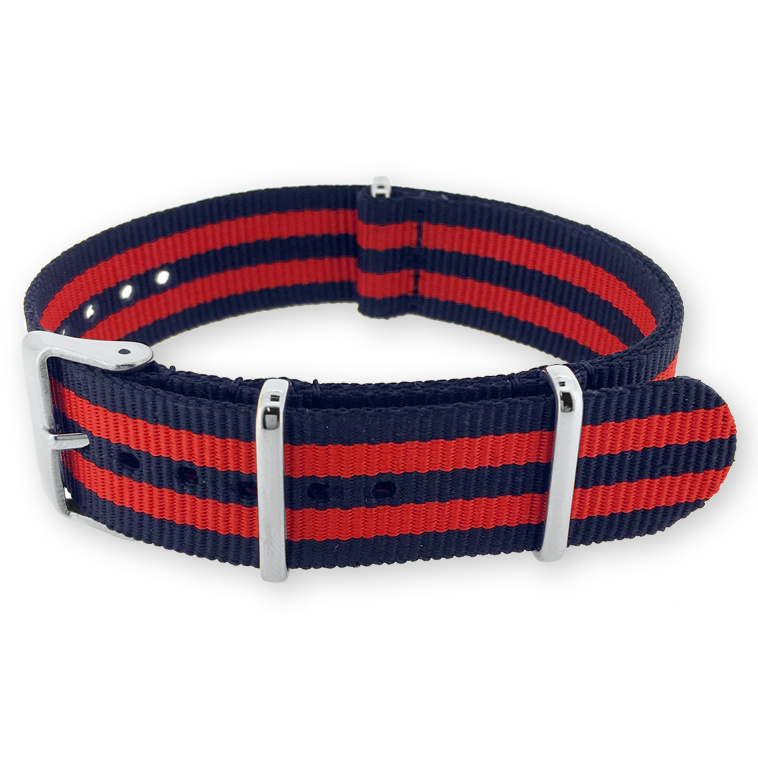 James Bond Navy Blue Red NATO G10 Military Nylon Strap 22 mm - Polished