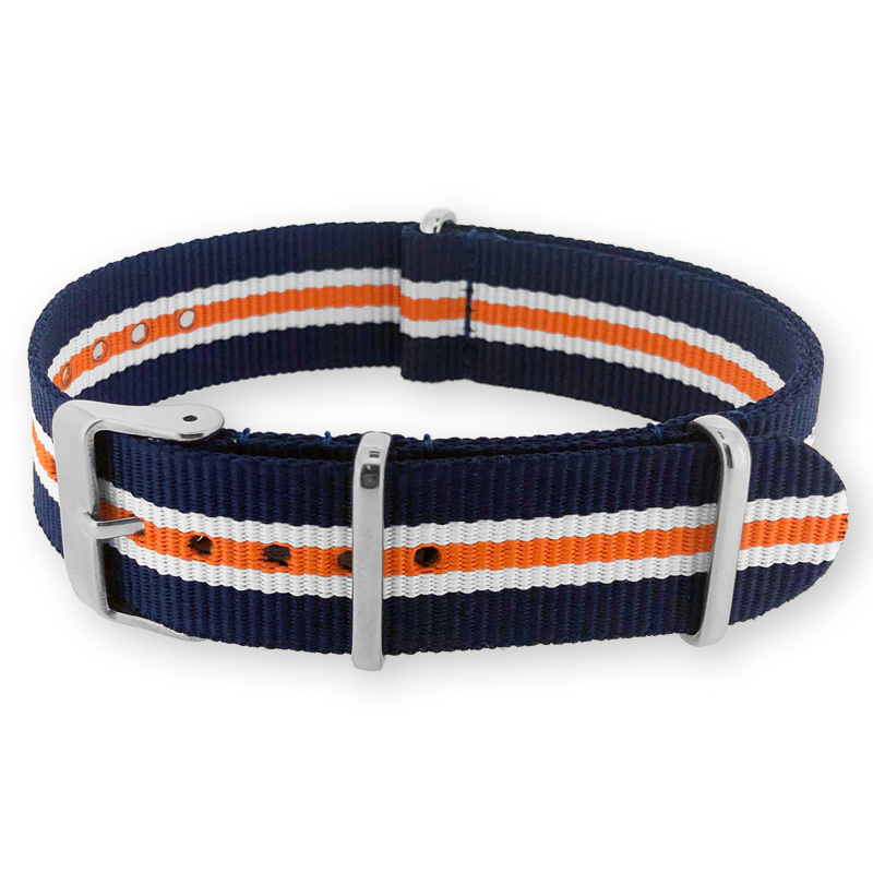 Heritage Blue White Orange NATO G10 Military Nylon Strap 18 mm - Polished