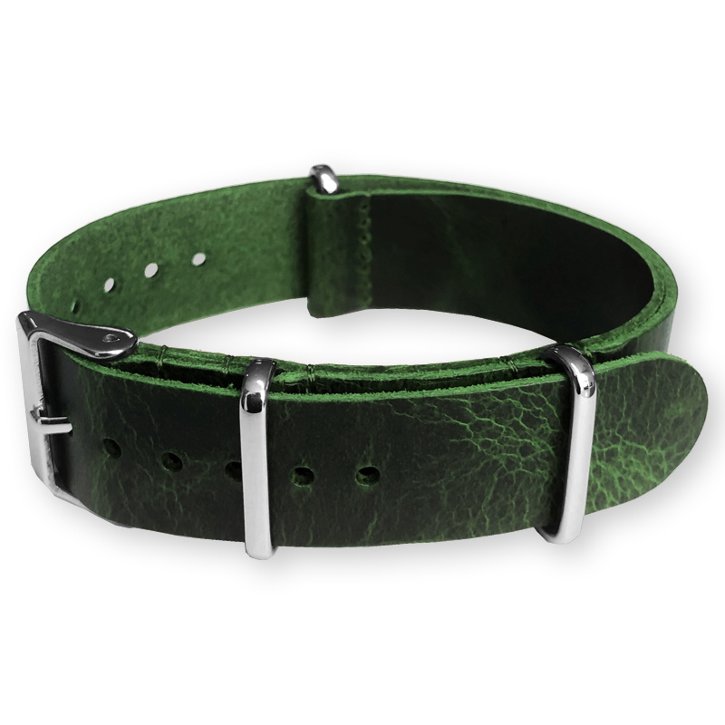 Green NATO Pull-Up Leather Strap 20 mm - Polished