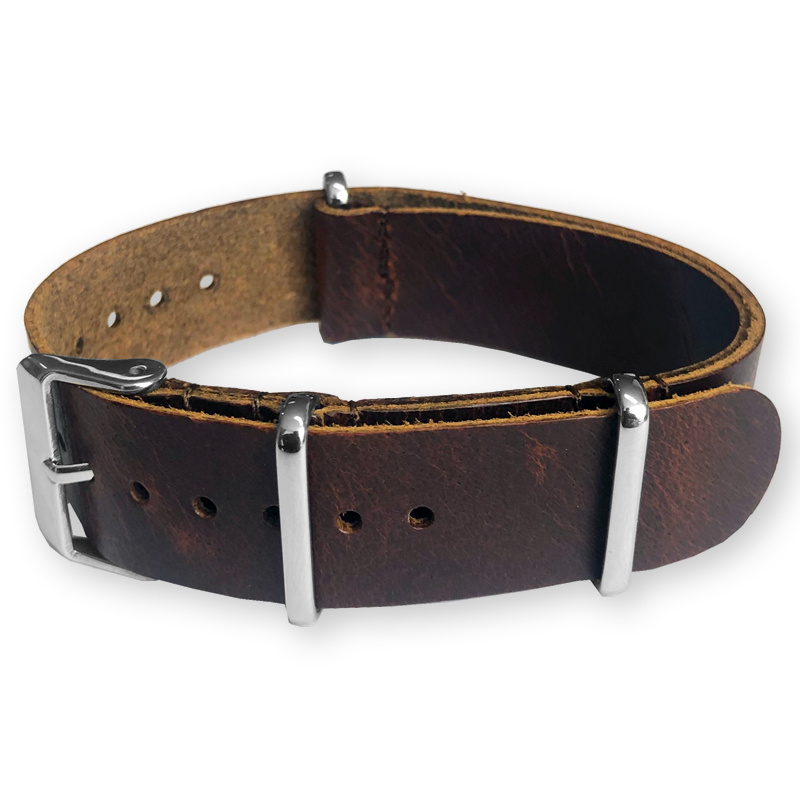 Brown NATO Pull-Up Leather Strap 20 mm - Polished