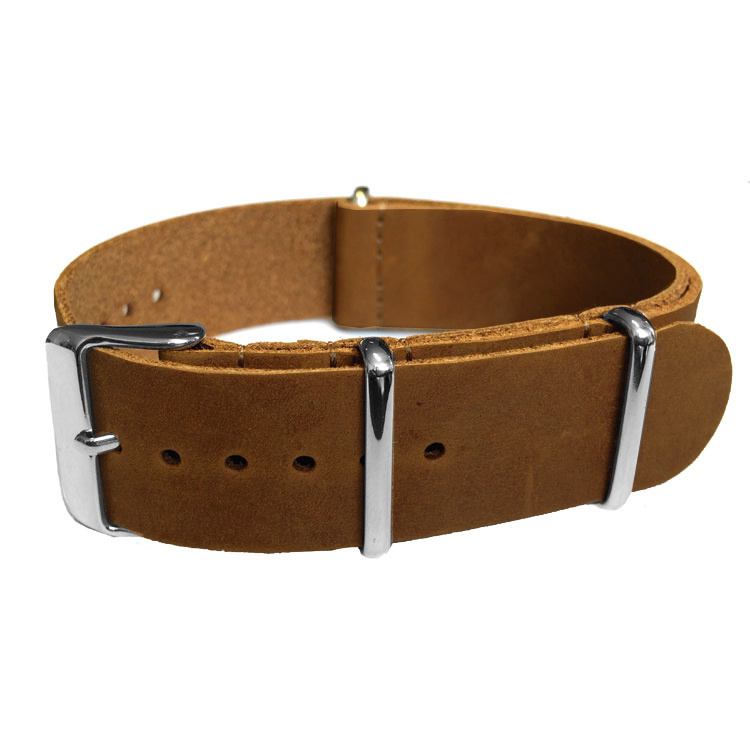 Brown NATO Vintage Leather Strap 20 mm - Polished
