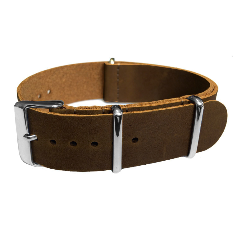 Dark Brown NATO Vintage Leather Strap 20 mm - Polished