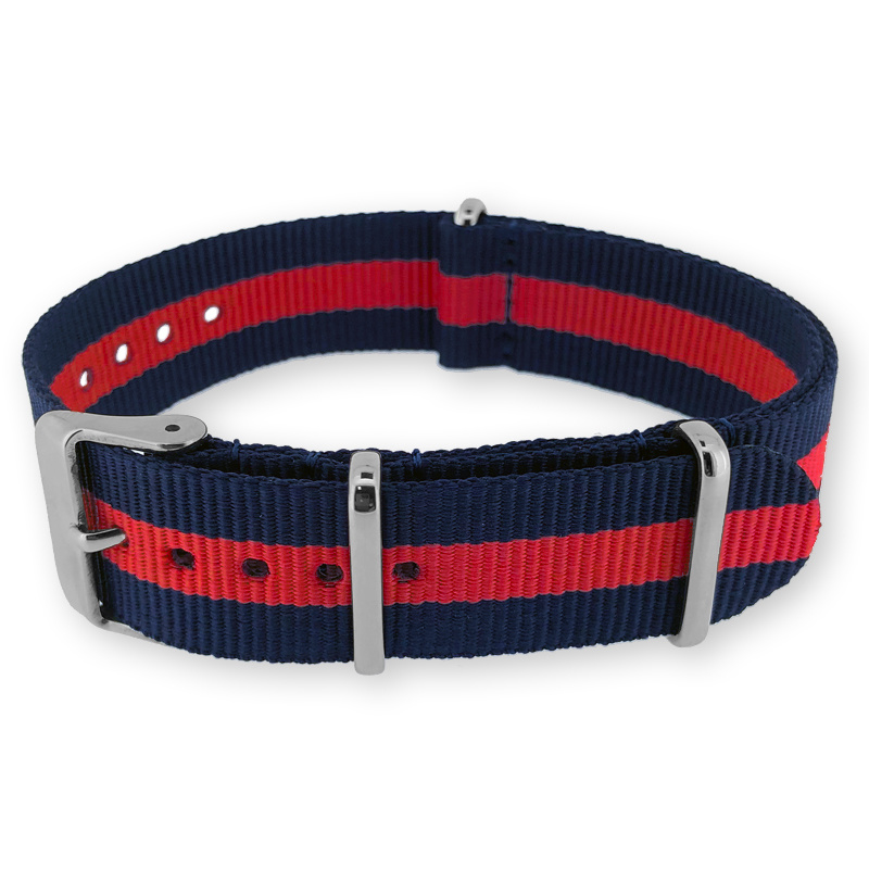 Regimental Navy Red NATO G10 Military Nylon Strap 22 mm - Polished
