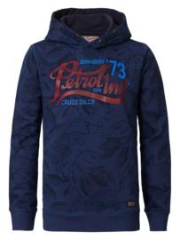 Petrol hoodie met bloemenprint B-3090-SWH334