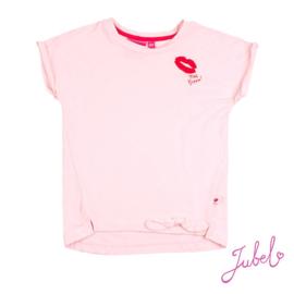T-shirt jubel roze met lippen