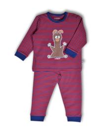 Woody unisex pyjama, strepen alpaca 192-3-PZL-Z/943
