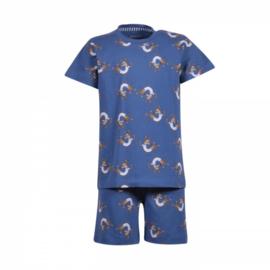 Woody jongenspyjama blauw all over print hond