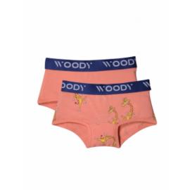 Woody Meisjes short, 2-pack, koraal + giraf geprint, 201-1-SHO-Z/015