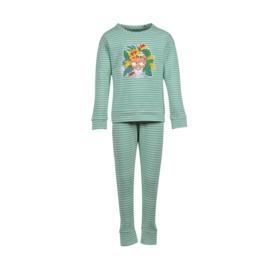 Meisjes-Dames pyjama, jadegroen-wit gestreept 201-1-PZB-Z/927