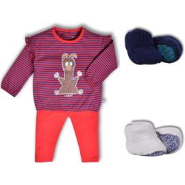 Woody meisjes pyjama alpaca gestreept met ruffle 192-3-PZG-Z/943