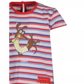 Woody Meisjes Pyjama Rood - Blauw Gestreept