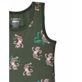 Woody onderhemdje voor jongens - Donkergroen met panter - 201-1-VES-Z/979